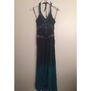 Sue Wong Nocturne Beaded Halter Dress Size 2